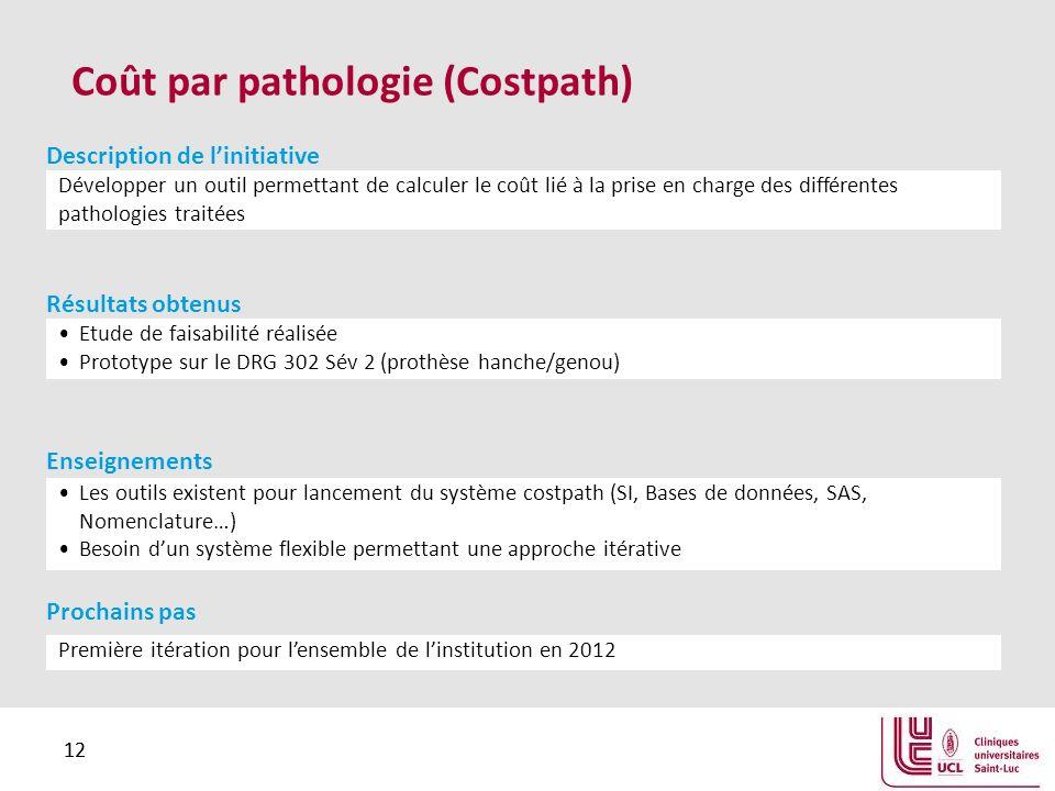 12 Coût par pathologie (Costpath) Développer un outil permettant de calculer le coût lié à la prise en charge des différentes pathologies traitées Des