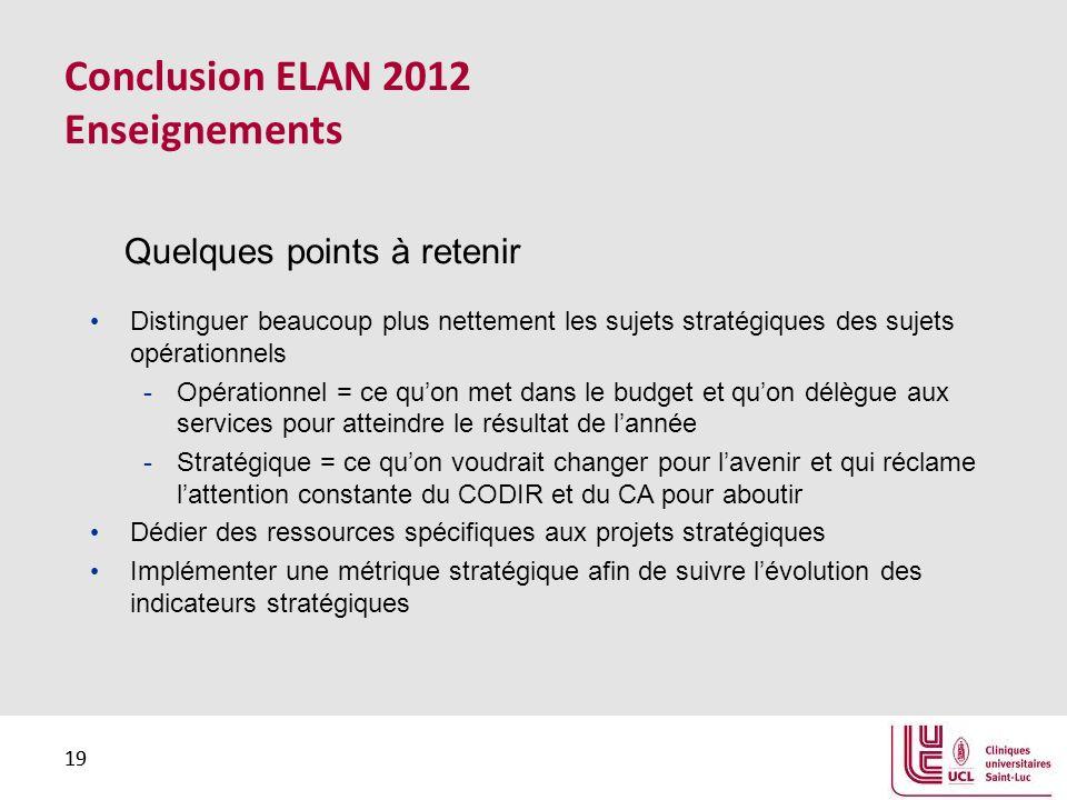 19 Conclusion ELAN 2012 Enseignements Distinguer beaucoup plus nettement les sujets stratégiques des sujets opérationnels -Opérationnel = ce quon met