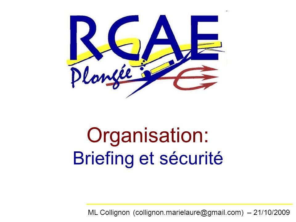 Organisation: Briefing et sécurité ML Collignon (collignon.marielaure@gmail.com) – 21/10/2009