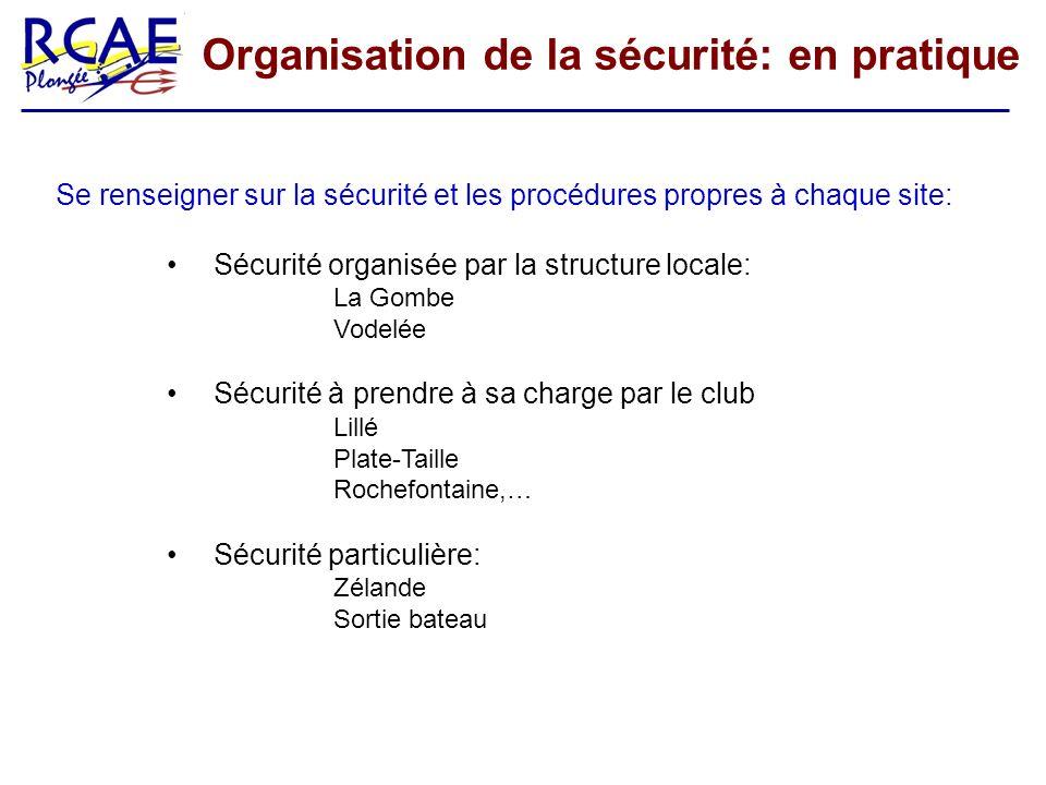 Organisation de la sécurité: en pratique Se renseigner sur la sécurité et les procédures propres à chaque site: Sécurité organisée par la structure lo
