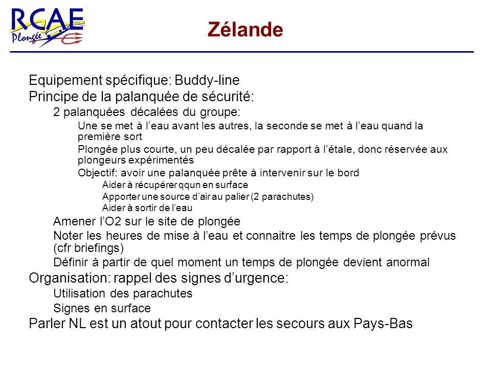 Zélande Equipement spécifique: Buddy-line Principe de la palanquée de sécurité: 2 palanquées décalées du groupe: Une se met à leau avant les autres, l