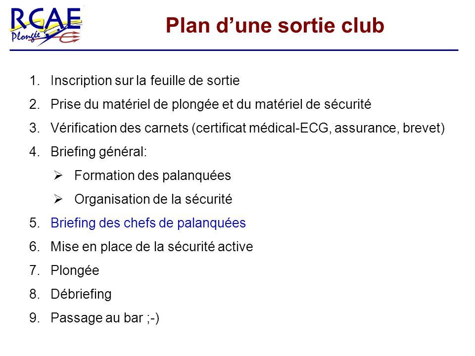 Plan dune sortie club 1. Inscription sur la feuille de sortie 2. Prise du matériel de plongée et du matériel de sécurité 3. Vérification des carnets (