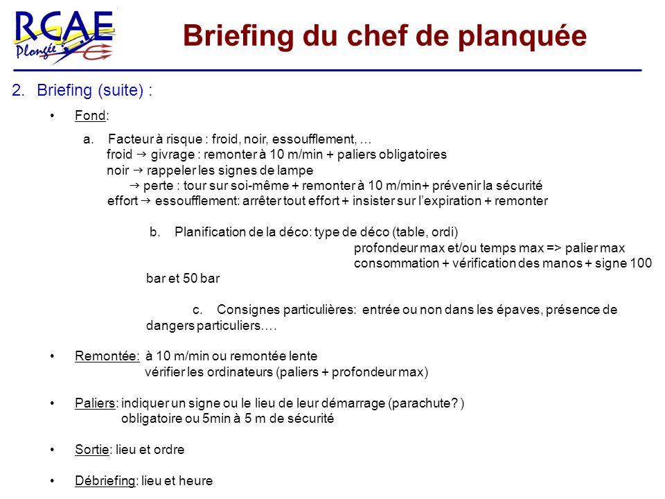 Briefing du chef de planquée 2.Briefing (suite) : Fond: a.Facteur à risque : froid, noir, essoufflement, … froid givrage : remonter à 10 m/min + palie