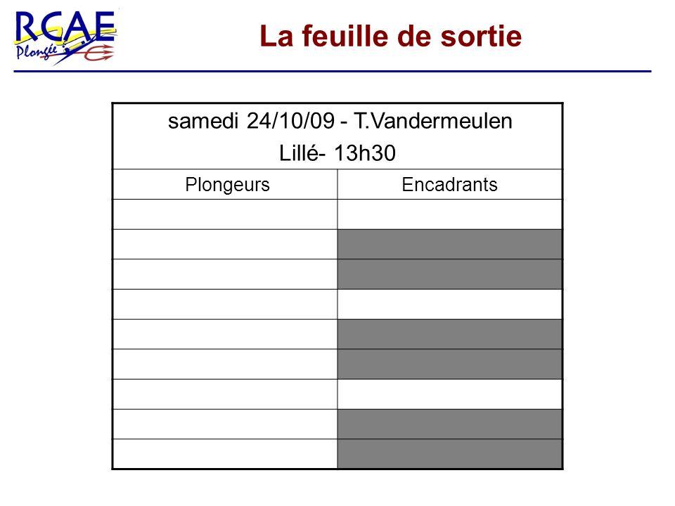 La feuille de sortie samedi 24/10/09 - T.Vandermeulen Lillé- 13h30 PlongeursEncadrants