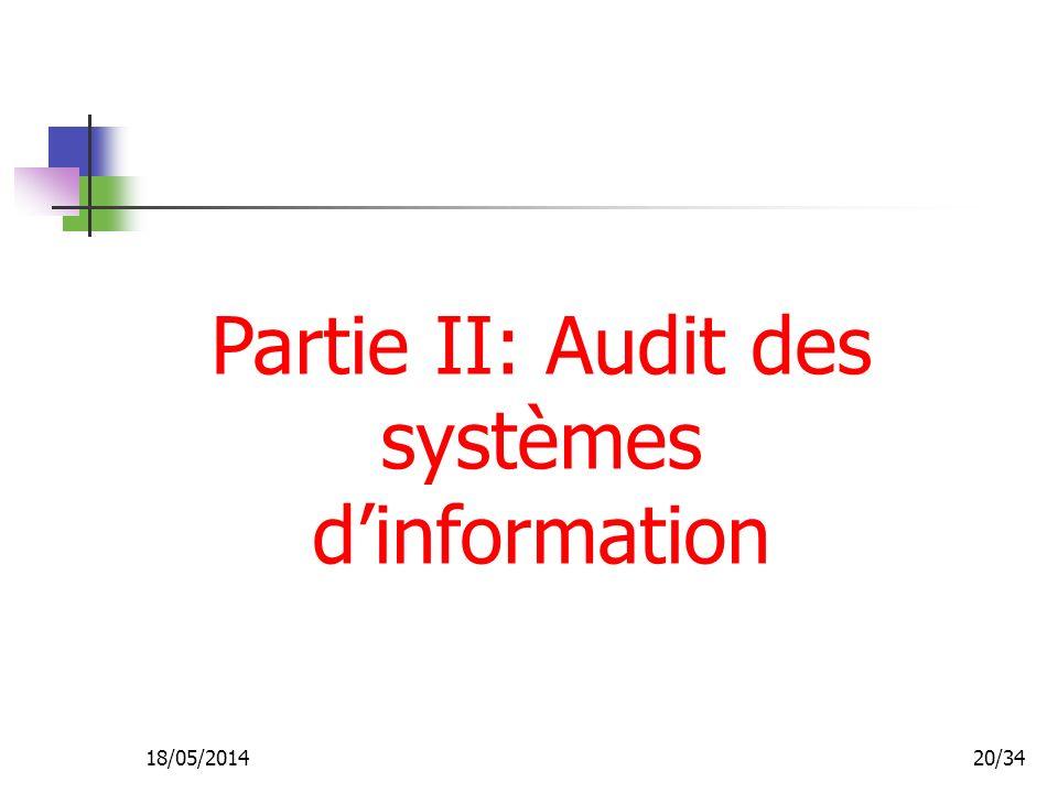 18/05/201420/34 Partie II: Audit des systèmes dinformation