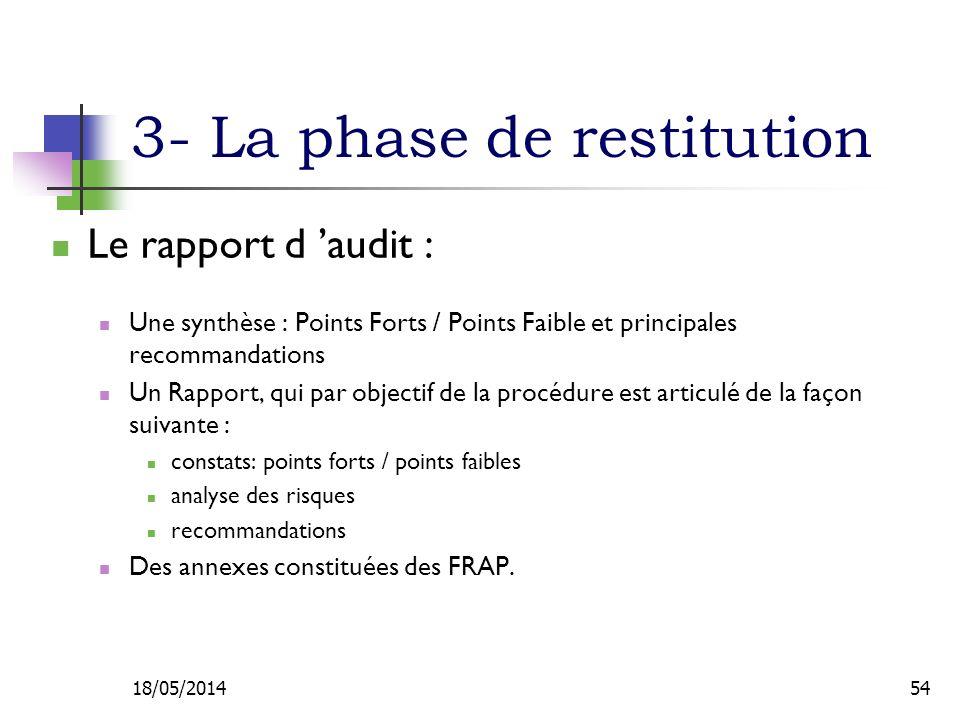 3- La phase de restitution Le rapport d audit : Une synthèse : Points Forts / Points Faible et principales recommandations Un Rapport, qui par objectif de la procédure est articulé de la façon suivante : constats: points forts / points faibles analyse des risques recommandations Des annexes constituées des FRAP.