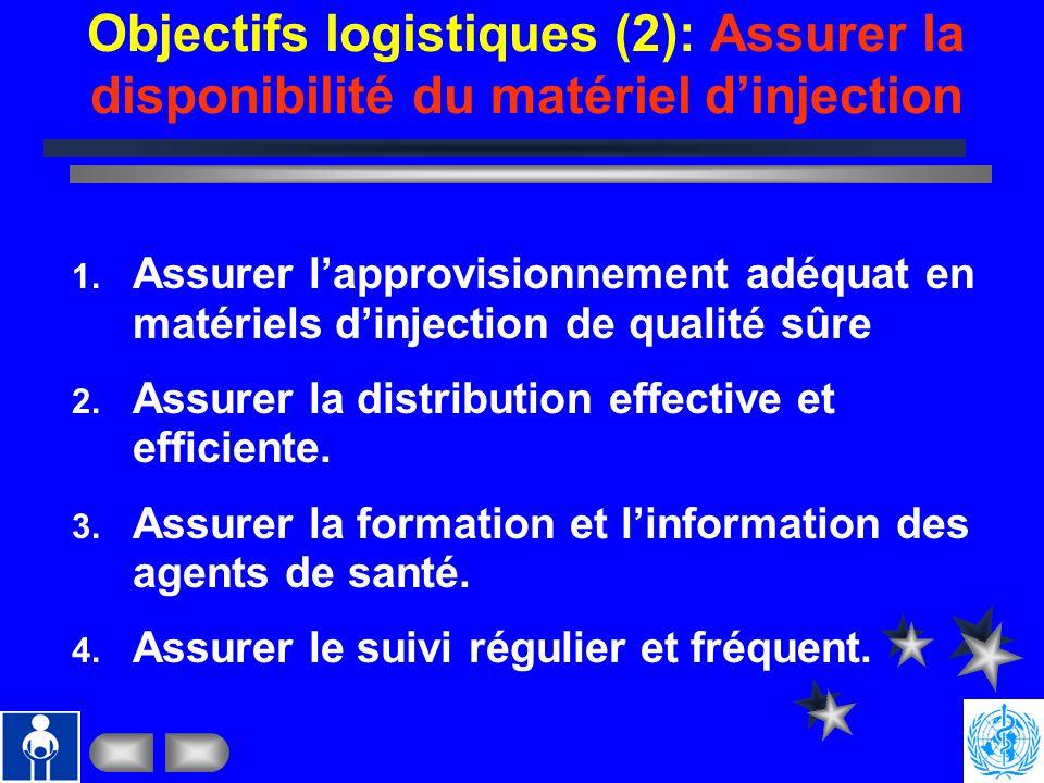 Objectifs logistiques (1): Assurer la disponibilité et sécurité des vaccins 1. Assurer lapprovisionnement adéquat en vaccins de qualité sûre reconnue