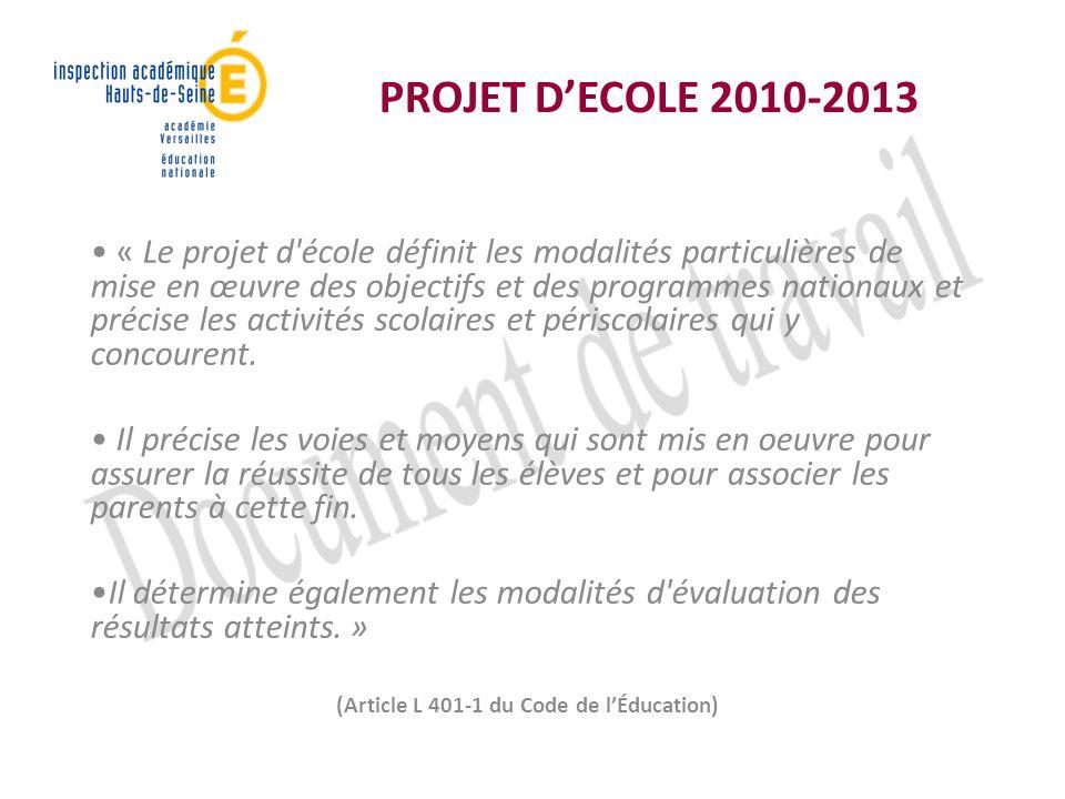 PROJET DECOLE 2010-2013 « Le projet d école définit les modalités particulières de mise en œuvre des objectifs et des programmes nationaux et précise les activités scolaires et périscolaires qui y concourent.