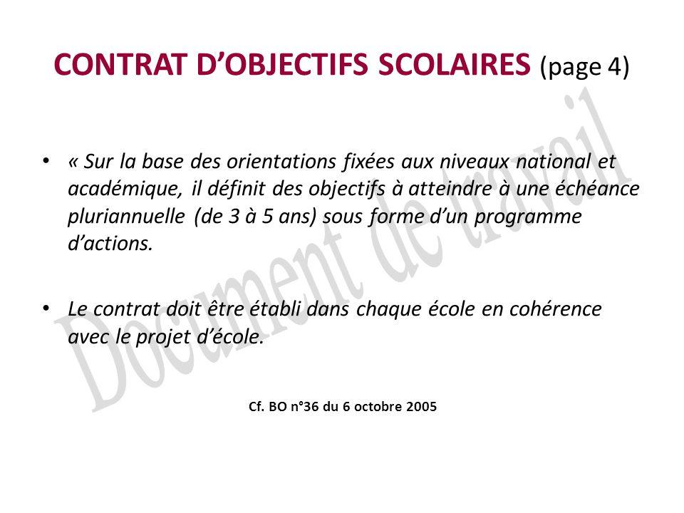 CONTRAT DOBJECTIFS SCOLAIRES (page 4) « Sur la base des orientations fixées aux niveaux national et académique, il définit des objectifs à atteindre à une échéance pluriannuelle (de 3 à 5 ans) sous forme dun programme dactions.
