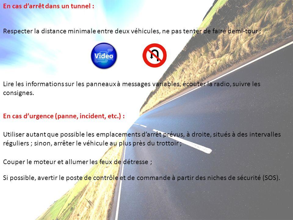 En cas darrêt dans un tunnel : Respecter la distance minimale entre deux véhicules, ne pas tenter de faire demi-tour ; Lire les informations sur les panneaux à messages variables, écouter la radio, suivre les consignes.