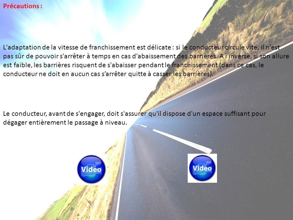 Précautions : L adaptation de la vitesse de franchissement est délicate : si le conducteur circule vite, il n est pas sûr de pouvoir s arrêter à temps en cas d abaissement des barrières.