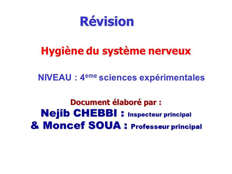 Révision NIVEAU : 4 eme sciences expérimentales Document élaboré par : Nejib CHEBBI : Inspecteur principal & Moncef SOUA : Professeur principal neurop