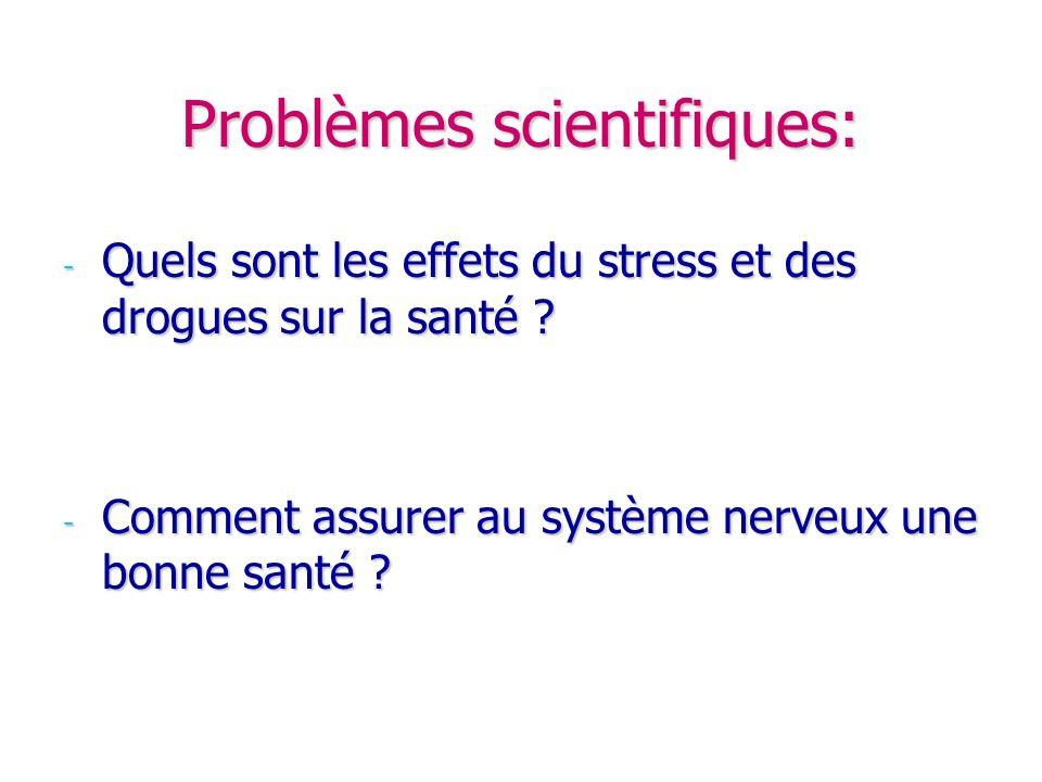 Problèmes scientifiques: -Q-Q-Q-Quels sont les effets du stress et des drogues sur la santé ? -C-C-C-Comment assurer au système nerveux une bonne sant