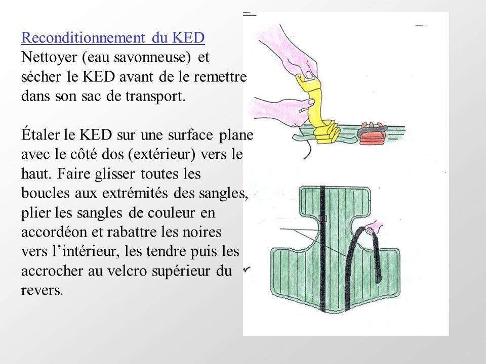 Reconditionnement du KED Nettoyer (eau savonneuse) et sécher le KED avant de le remettre dans son sac de transport. Étaler le KED sur une surface plan