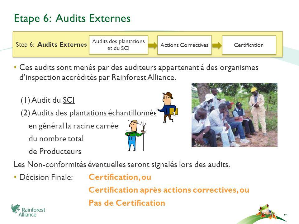 Etape 6: Audits Externes Ces audits sont menés par des auditeurs appartenant à des organismes dinspection accrédités par Rainforest Alliance. (1) Audi
