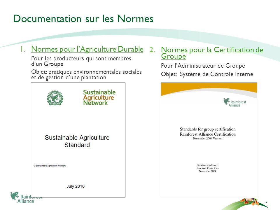 Documentation sur les Normes 2 1.Normes pour lAgriculture Durable Pour les producteurs qui sont membres dun Groupe Objet: pratiques environnementales