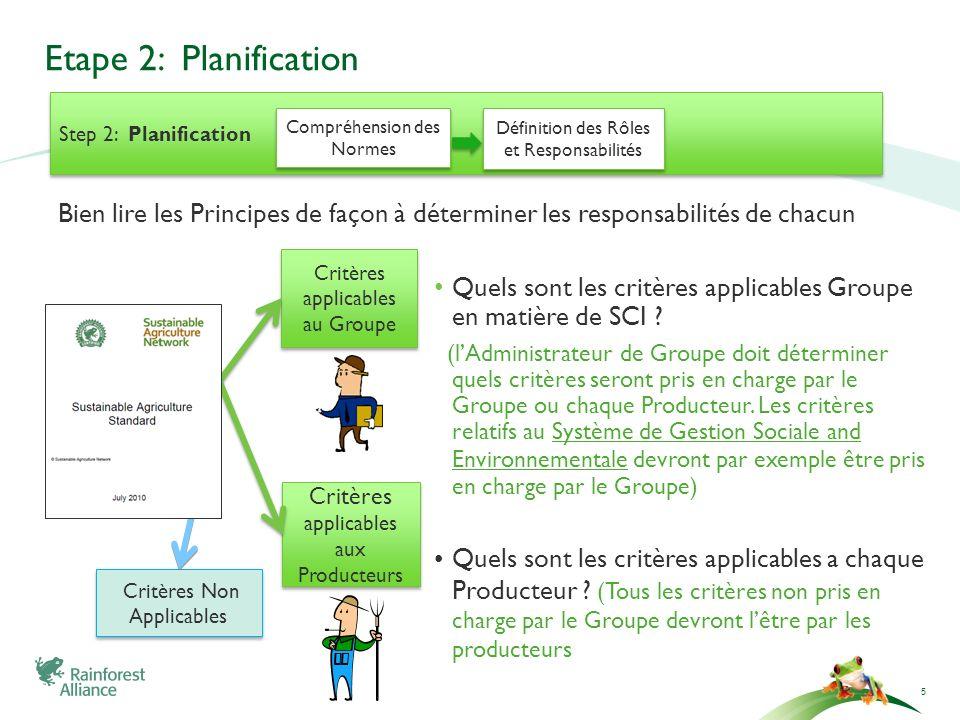 Etape 2: Planification Quels sont les critères applicables Groupe en matière de SCI ? (lAdministrateur de Groupe doit déterminer quels critères seront