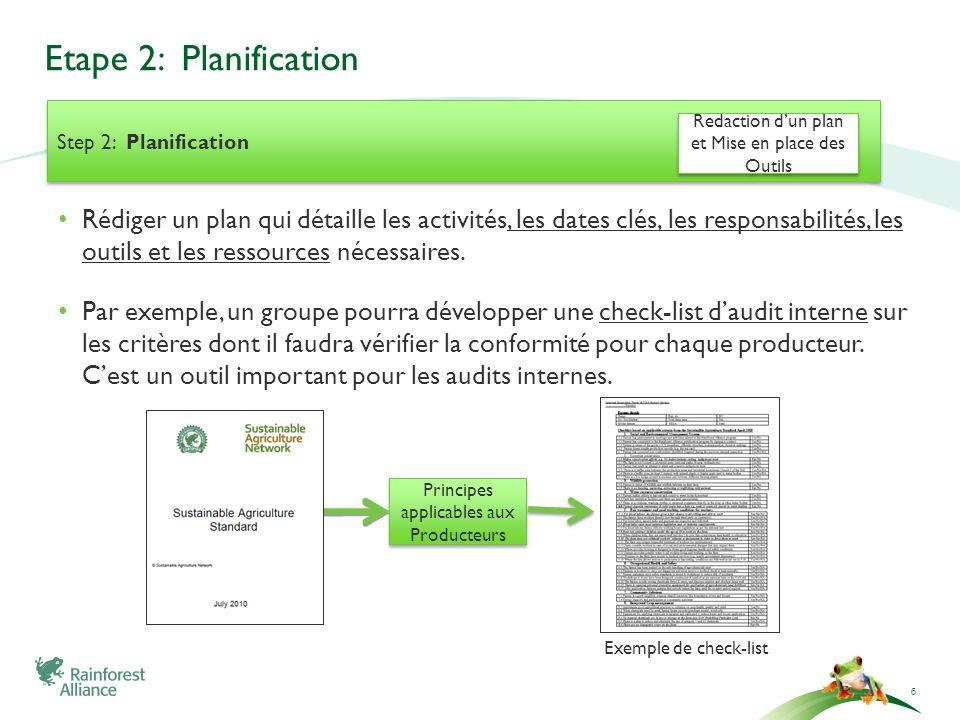 Etape 2: Planification 6 Step 2: Planification Rédiger un plan qui détaille les activités, les dates clés, les responsabilités, les outils et les ress