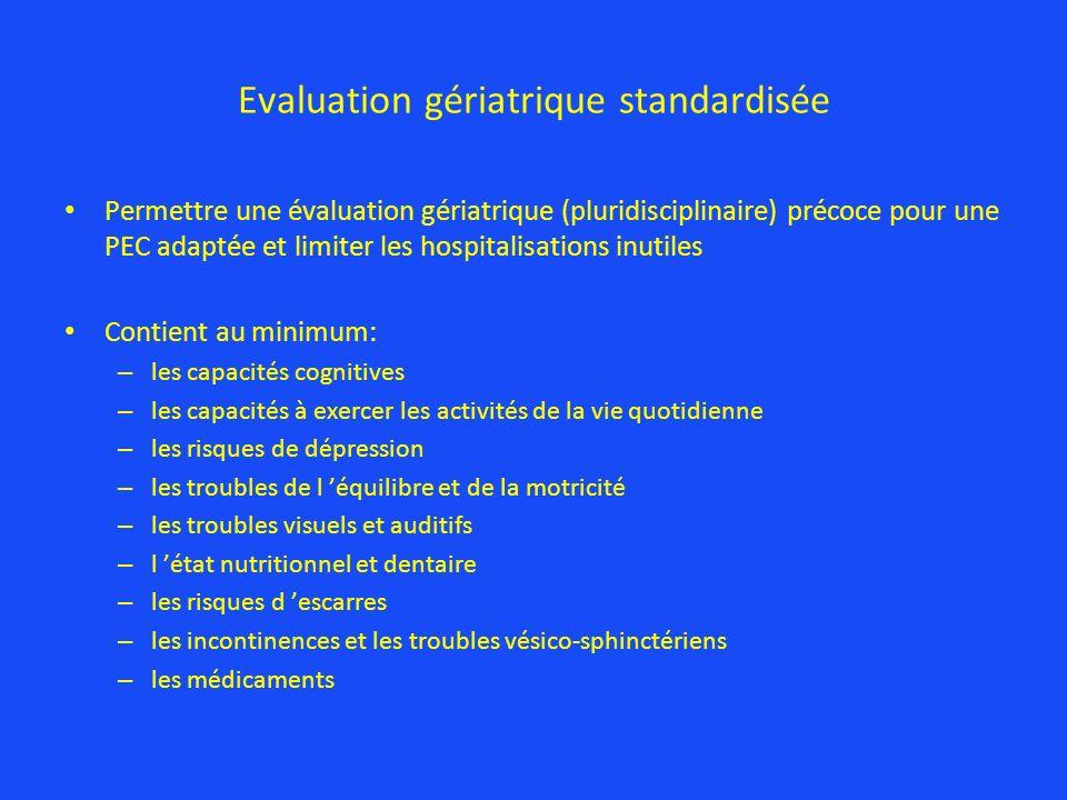 Evaluation gériatrique standardisée Permettre une évaluation gériatrique (pluridisciplinaire) précoce pour une PEC adaptée et limiter les hospitalisat