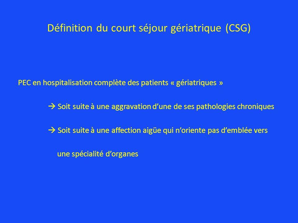 Définition du court séjour gériatrique (CSG) PEC en hospitalisation complète des patients « gériatriques » Soit suite à une aggravation dune de ses pa