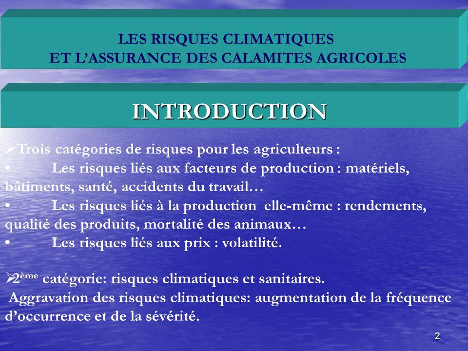 3 LES RISQUES CLIMATIQUES ET LASSURANCE DES CALAMITES AGRICOLES Deux obstacles au développement de lassurance agricole :Lasymétrie de linformation ou antisélectionLa corrélation entre les risques individuels.