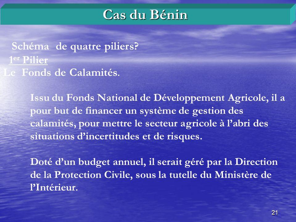 21 Schéma de quatre piliers? 1 er Pilier Cas du Bénin Le Fonds de Calamités. Issu du Fonds National de Développement Agricole, il a pour but de financ