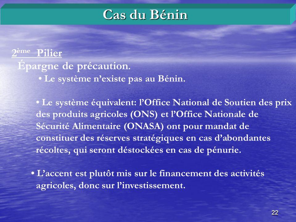 22 2 ème Pilier Cas du Bénin Épargne de précaution. Le système nexiste pas au Bénin. Le système équivalent: lOffice National de Soutien des prix des p