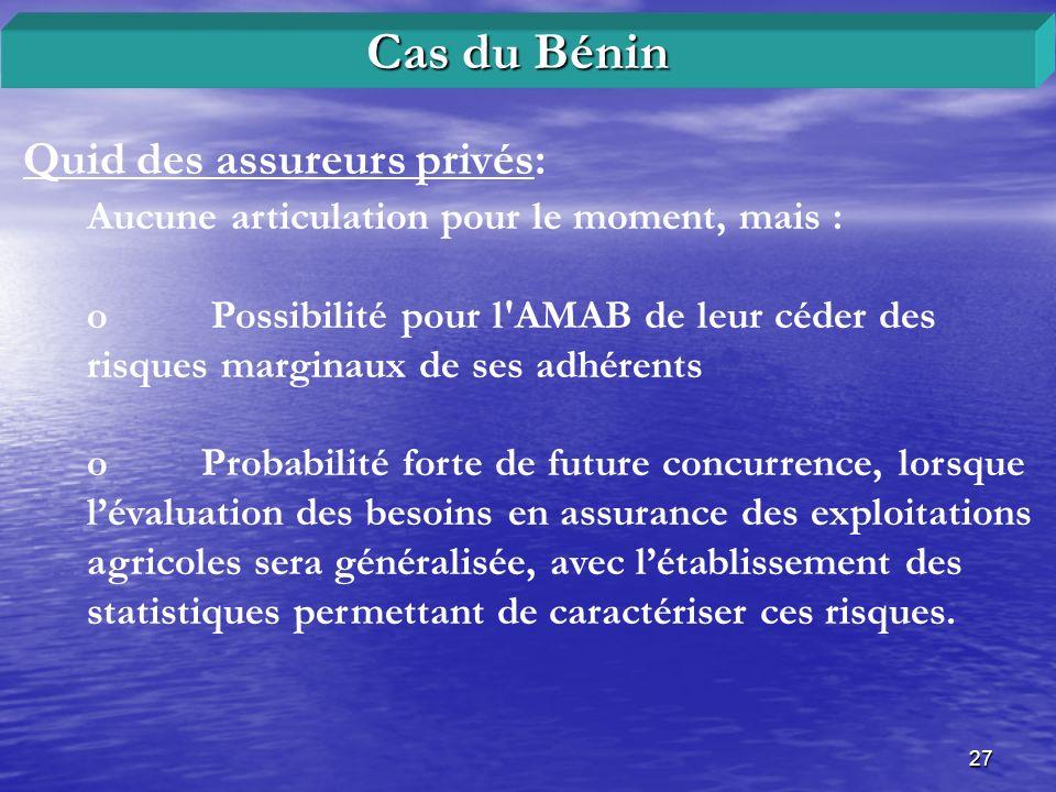 27 Quid des assureurs privés: Cas du Bénin Aucune articulation pour le moment, mais : o Possibilité pour l'AMAB de leur céder des risques marginaux de