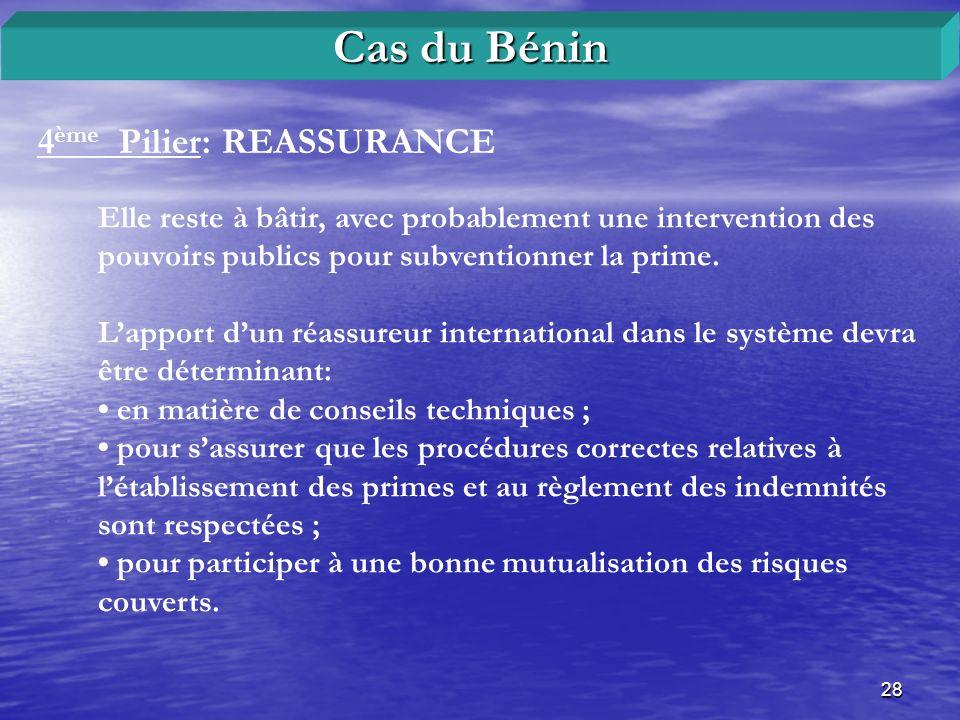 28 4 ème Pilier: REASSURANCE Cas du Bénin Elle reste à bâtir, avec probablement une intervention des pouvoirs publics pour subventionner la prime. Lap