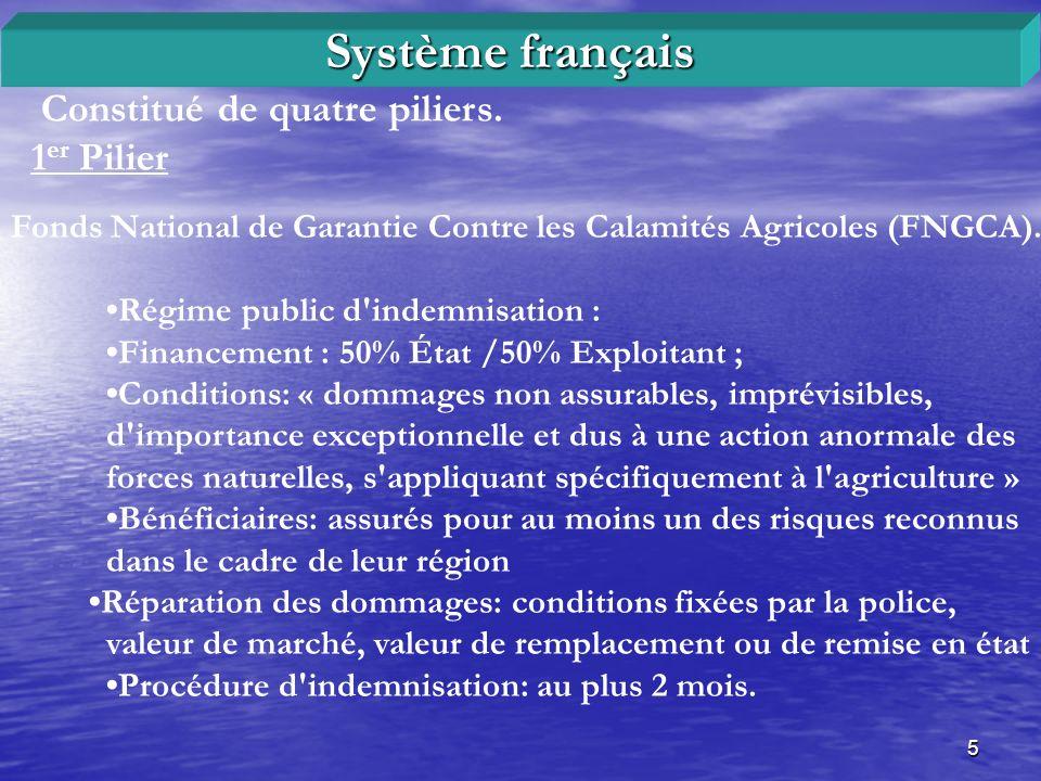 5 Constitué de quatre piliers. 1 er Pilier Système français Fonds National de Garantie Contre les Calamités Agricoles (FNGCA). Régime public d'indemni