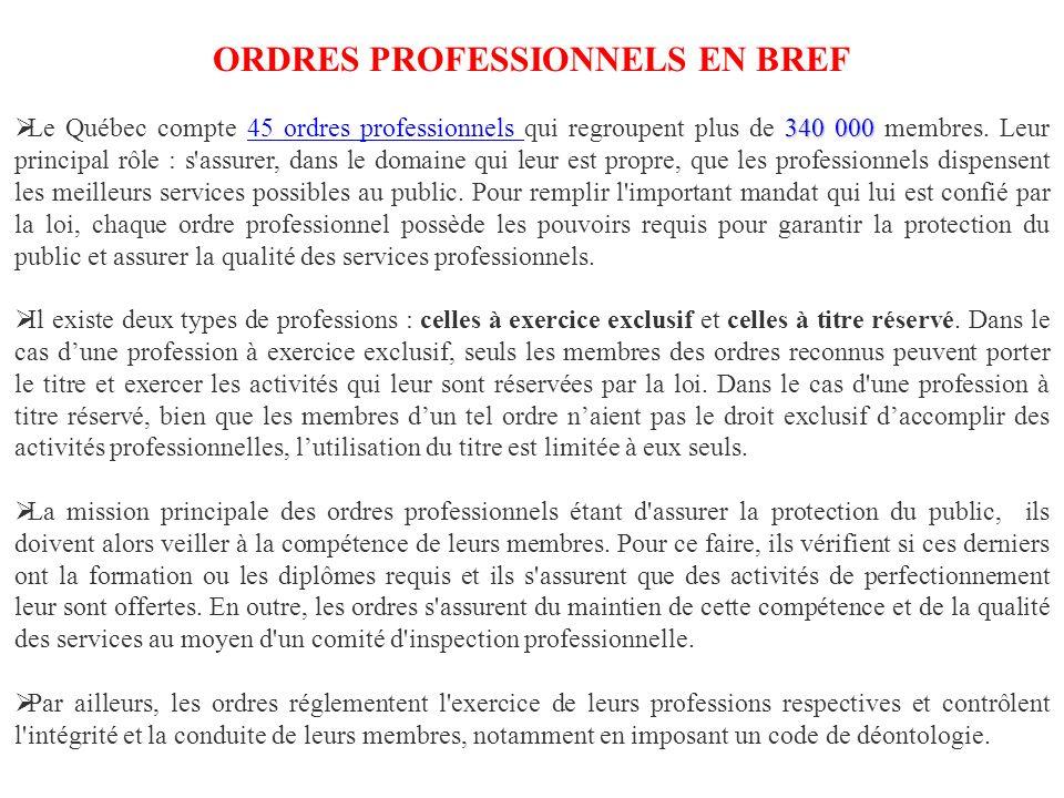 ORDRES PROFESSIONNELS EN BREF 340 000 Le Québec compte 45 ordres professionnels qui regroupent plus de 340 000 membres.