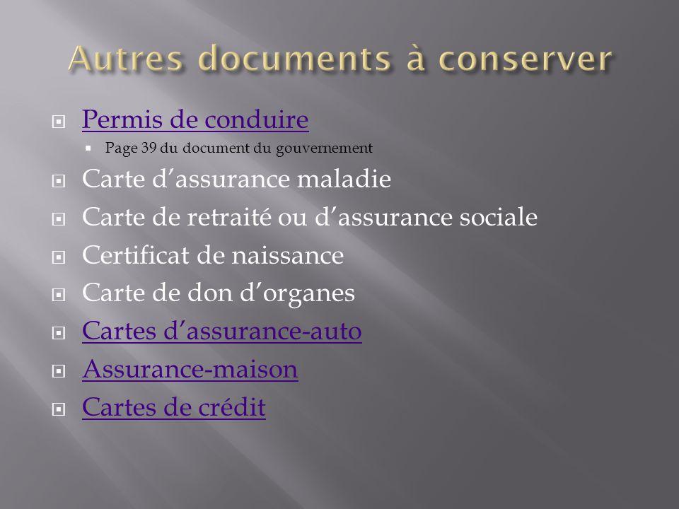 Permis de conduire Page 39 du document du gouvernement Carte dassurance maladie Carte de retraité ou dassurance sociale Certificat de naissance Carte