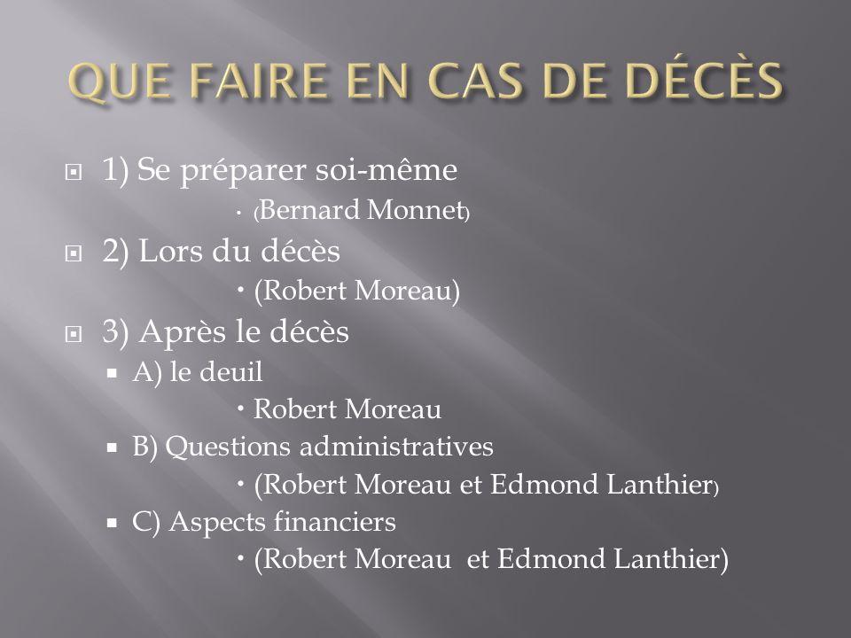 1) Se préparer soi-même ( Bernard Monnet ) 2) Lors du décès (Robert Moreau) 3) Après le décès A) le deuil Robert Moreau B) Questions administratives (