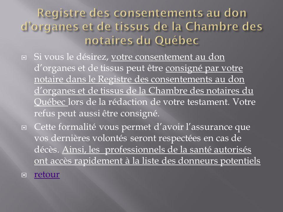 Si vous le désirez, votre consentement au don dorganes et de tissus peut être consigné par votre notaire dans le Registre des consentements au don dor