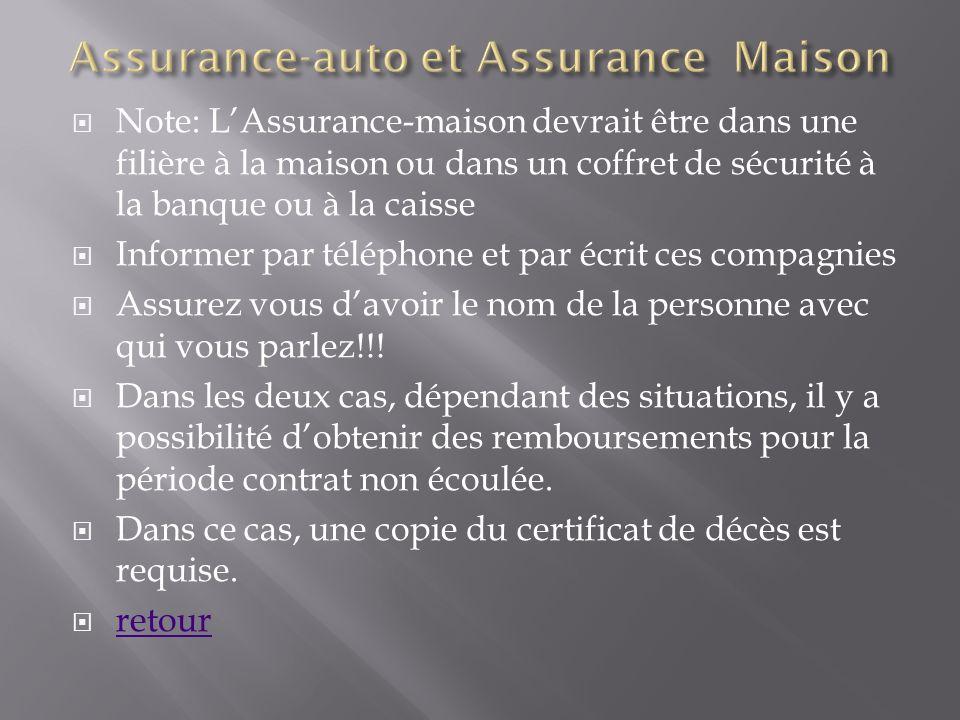 Note: LAssurance-maison devrait être dans une filière à la maison ou dans un coffret de sécurité à la banque ou à la caisse Informer par téléphone et