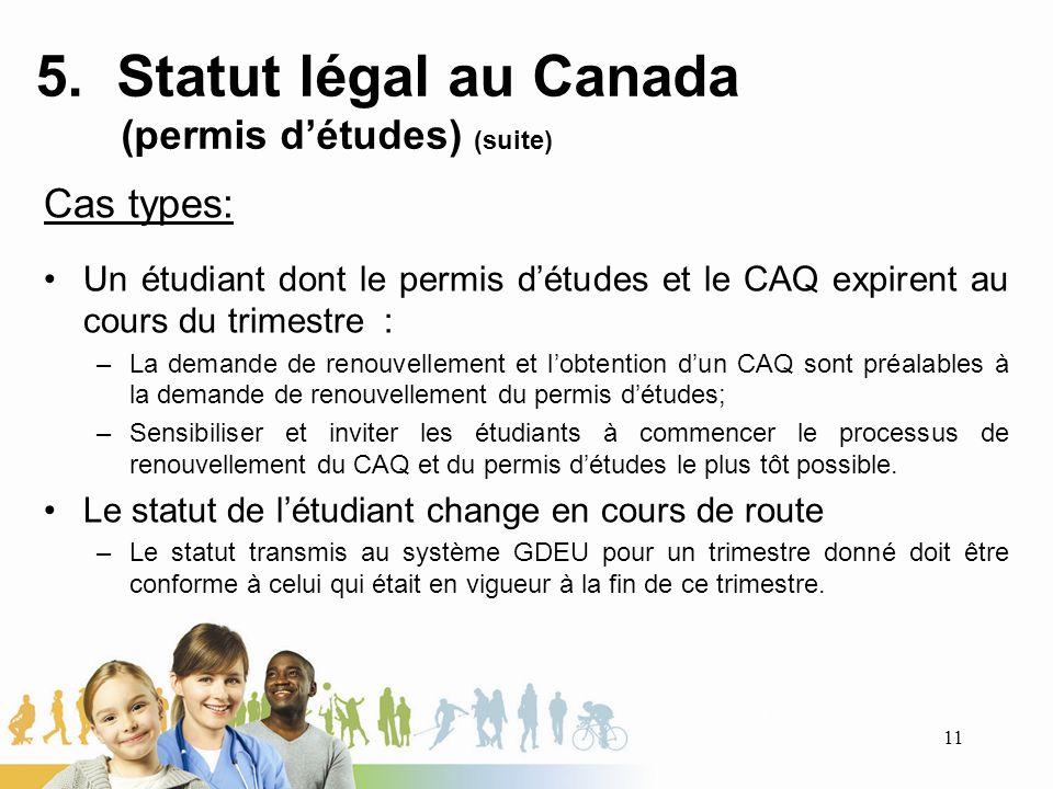 5. Statut légal au Canada (permis détudes) (suite) Cas types: Un étudiant dont le permis détudes et le CAQ expirent au cours du trimestre : –La demand