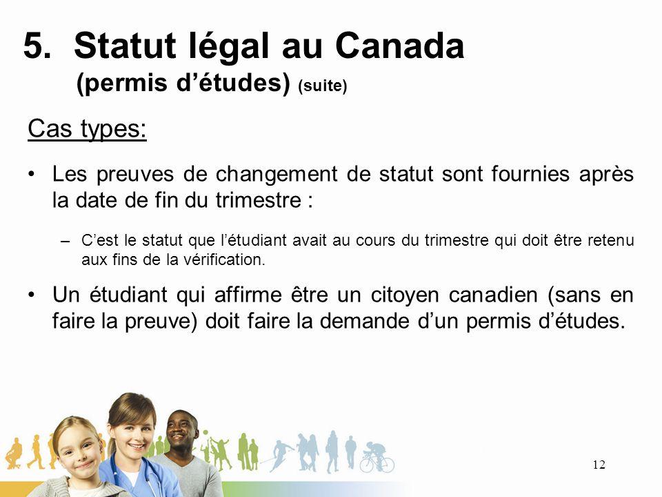 5. Statut légal au Canada (permis détudes) (suite) Cas types: Les preuves de changement de statut sont fournies après la date de fin du trimestre : –C