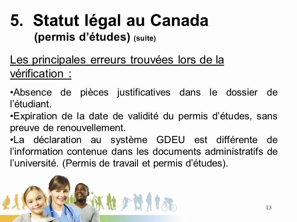 5. Statut légal au Canada (permis détudes) (suite) Les principales erreurs trouvées lors de la vérification : Absence de pièces justificatives dans le