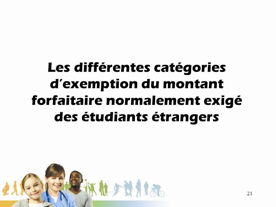 Les différentes catégories dexemption du montant forfaitaire normalement exigé des étudiants étrangers 21