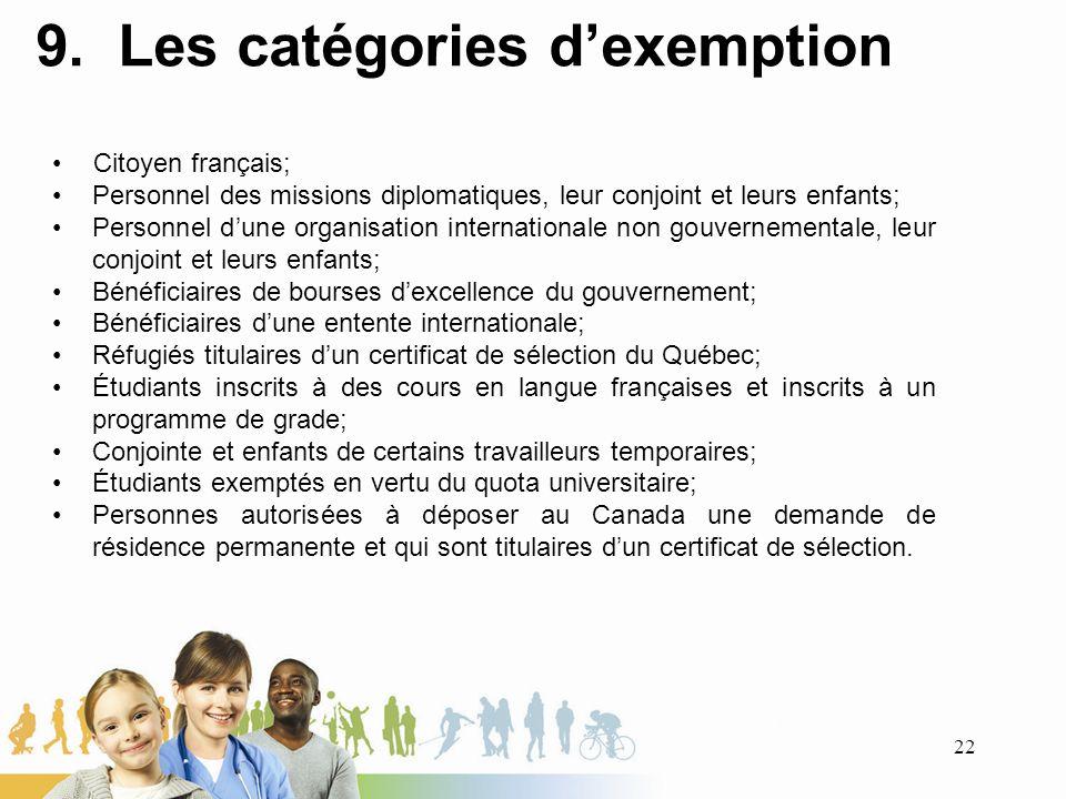 9. Les catégories dexemption Citoyen français; Personnel des missions diplomatiques, leur conjoint et leurs enfants; Personnel dune organisation inter