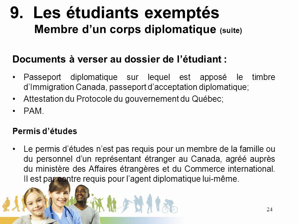 9. Les étudiants exemptés Membre dun corps diplomatique (suite) Documents à verser au dossier de létudiant : Passeport diplomatique sur lequel est app