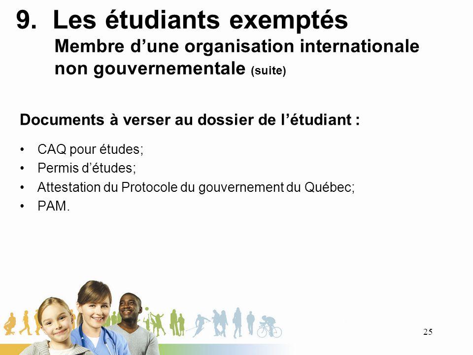 9. Les étudiants exemptés Membre dune organisation internationale non gouvernementale (suite) Documents à verser au dossier de létudiant : CAQ pour ét
