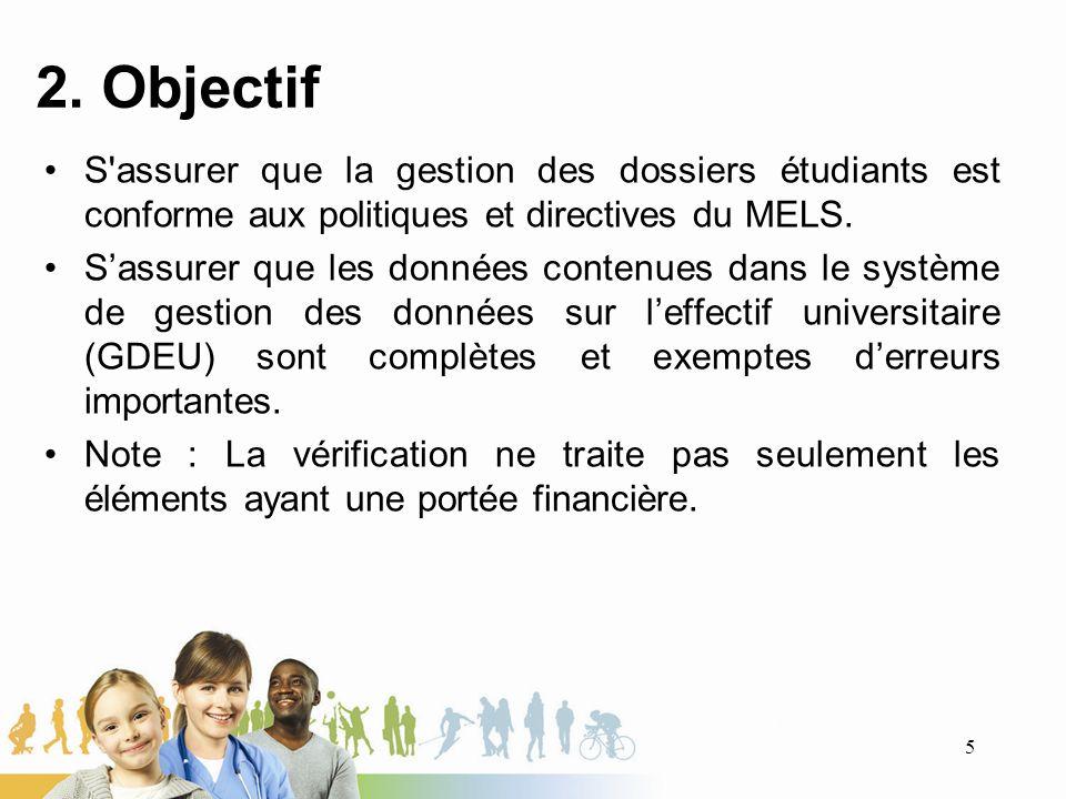 2. Objectif S'assurer que la gestion des dossiers étudiants est conforme aux politiques et directives du MELS. Sassurer que les données contenues dans