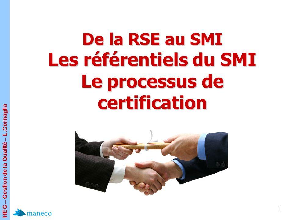 HEG – Gestion de la Qualité – L.Cornaglia 1 De la RSE au SMI Les référentiels du SMI Le processus de certification