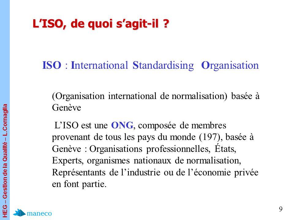HEG – Gestion de la Qualité – L.Cornaglia 9 LISO, de quoi sagit-il ? (Organisation international de normalisation) basée à Genève LISO est une ONG, co