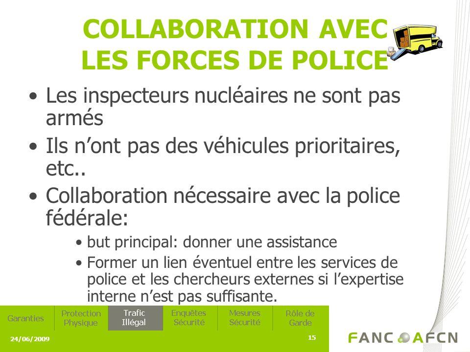 24/06/2009 15 COLLABORATION AVEC LES FORCES DE POLICE Les inspecteurs nucléaires ne sont pas armés Ils nont pas des véhicules prioritaires, etc..