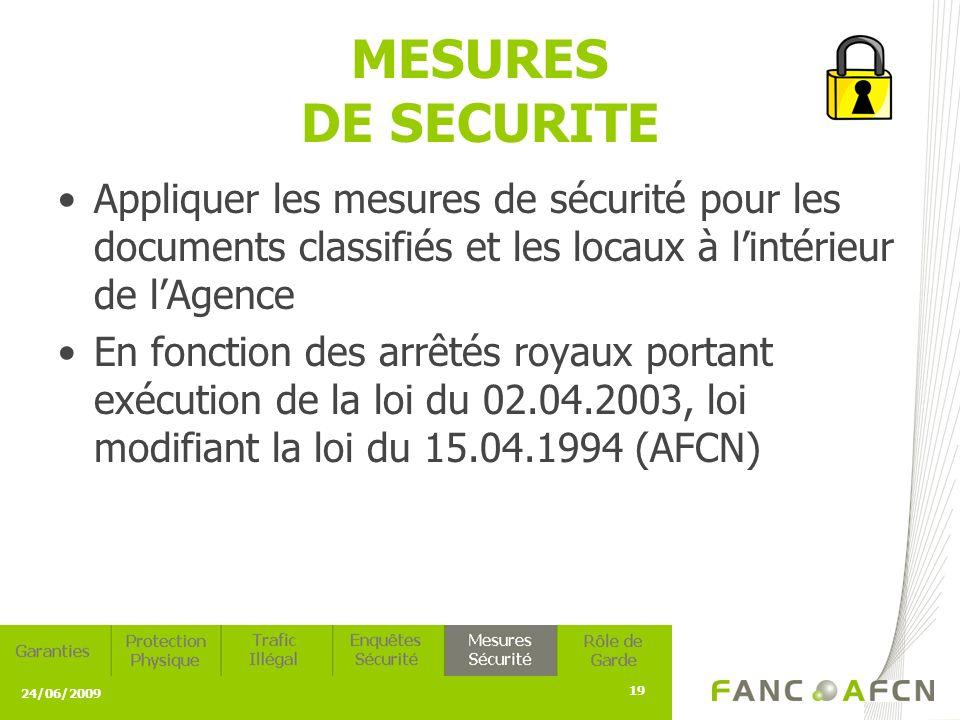 24/06/2009 19 MESURES DE SECURITE Appliquer les mesures de sécurité pour les documents classifiés et les locaux à lintérieur de lAgence En fonction des arrêtés royaux portant exécution de la loi du 02.04.2003, loi modifiant la loi du 15.04.1994 (AFCN)