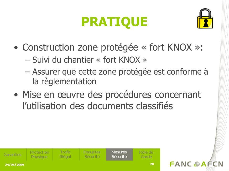 24/06/2009 20 PRATIQUE Construction zone protégée « fort KNOX »: –Suivi du chantier « fort KNOX » –Assurer que cette zone protégée est conforme à la règlementation Mise en œuvre des procédures concernant lutilisation des documents classifiés