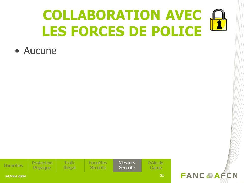 24/06/2009 21 COLLABORATION AVEC LES FORCES DE POLICE Aucune