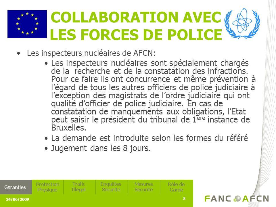 24/06/2009 8 COLLABORATION AVEC LES FORCES DE POLICE Les inspecteurs nucléaires de AFCN: Les inspecteurs nucléaires sont spécialement chargés de la recherche et de la constatation des infractions.